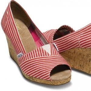 Red and White Striped Nautical TOMS Wedges
